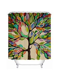Clip Art Colorful Tree Print 3D Bathroom Shower Curtain