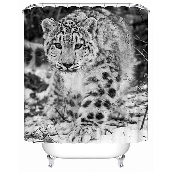 Cute Black and White Spots Leopard Print 3D Bathroom Shower Curtain