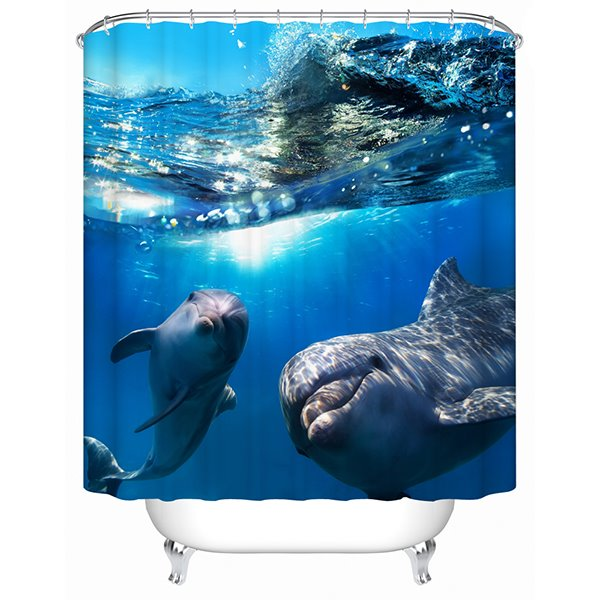 Dolphins in Deep Water Print 3D Bathroom Shower Curtain