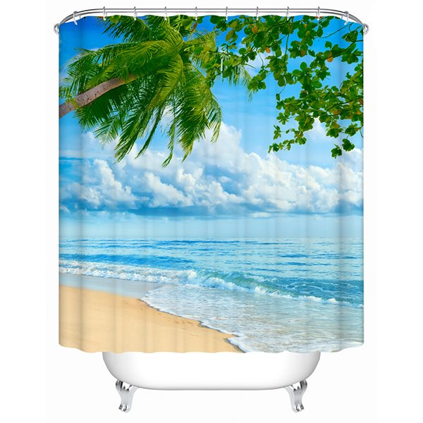 Bright Colors Beach and Tree Print 3D Bathroom Shower Curtain