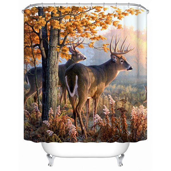 Couple Elk Standing beside the Tree Print 3D Bathroom Shower Curtain