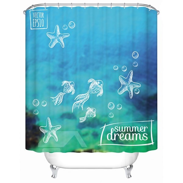 Cool Seabed and Fish Summer Dream Print 3D Bathroom Shower Curtain