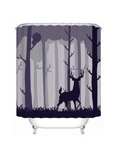 Dark Forest and Deer Print 3D Bathroom Shower Curtain