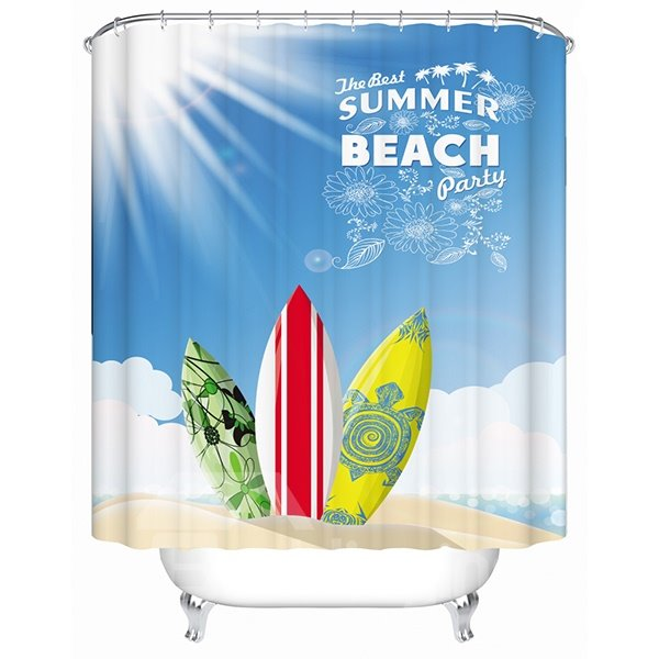 Sunny Summer Beach Scenery and Boat Print 3D Bathroom Shower Curtain
