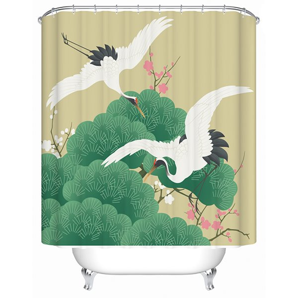 Leisurely Red-Crowned Cranes and Scenery Print 3D Bathroom Shower Curtain