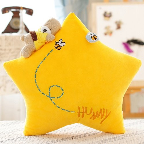 Manual Bear Lying on Yellow Moon and Star 2-piece Throw Pillows