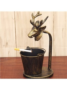 Creative Bronze Reindeer and Bucket Design Ashtray