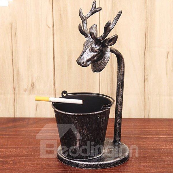 Creative Bronze Reindeer and Bucket Design Ashtray