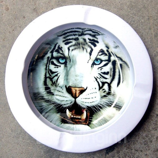 3D Baking Varnish White Tiger Metal Cigarette Dish
