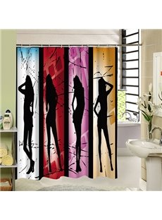Four Sexy Lady Silhouette Print 3D Bathroom Shower Curtain