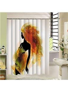 Fashion Beauty Silhouette Print 3D Bathroom Shower Curtain