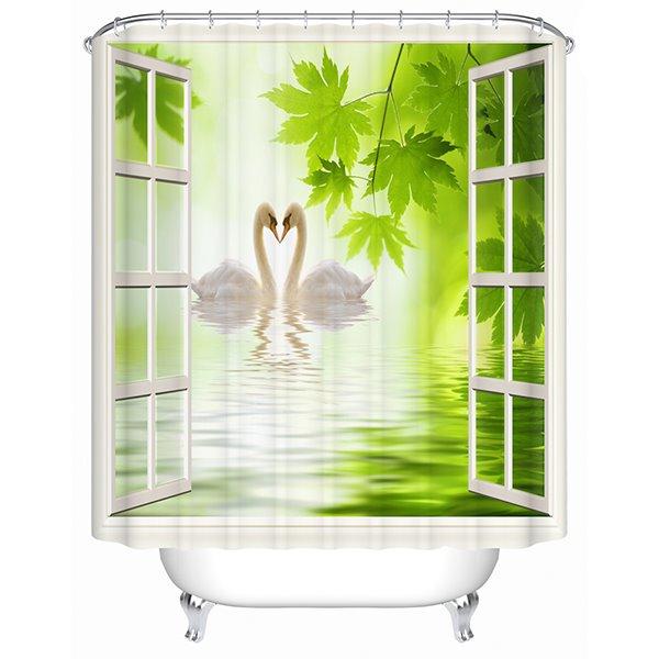Couple Lovely White Swan outside the Window Print 3D Bathroom Shower Curtain