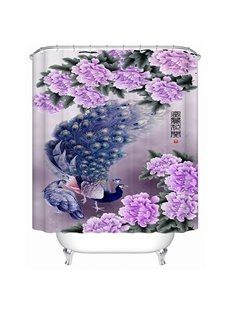 Luxury Peacock and Purple Peony Print 3D Bathroom Shower Curtain