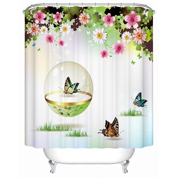 Lovely Little Butterflies Print 3D Bathroom Shower Curtain