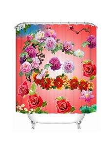 Colorful Champagne Roses Print 3D Bathroom Shower Curtain