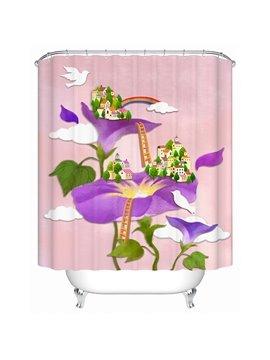 Interesting Village on the Flowers Print 3D Bathroom Shower Curtain