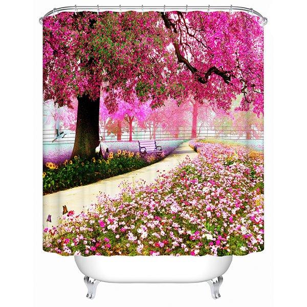 A Trail Beneath Purple Tree Print 3D Bathroom Shower Curtain