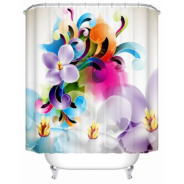 Clip Art Colored Flowers Print 3D Bathroom Shower Curtain