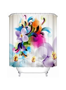 Clip Art Colored Flowers Print 3D Bathroom Shower Curtain