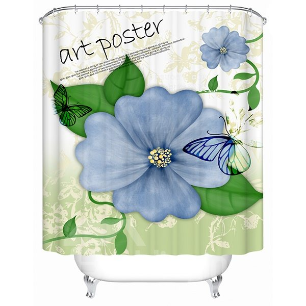 Hand Painting Blue Flowers Print 3D Bathroom Shower Curtain