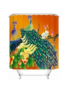 Luxury Peacock Print Bathroom Shower Curtain