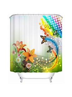 Colored Lily and Butterfly Print 3D Bathroom Shower Curtain