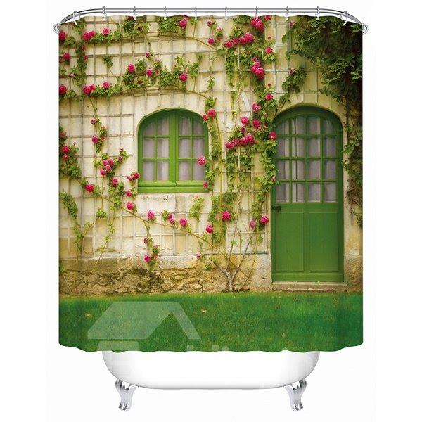 Green Door with Pink Flowers Print 3D Bathroom Shower Curtain