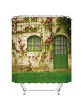 Green Door with Pink Flowers Print 3D Bathroom Shower Curtain