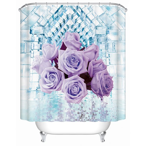 3D Purple Roses Printed Polyester Light Blue Shower Curtain