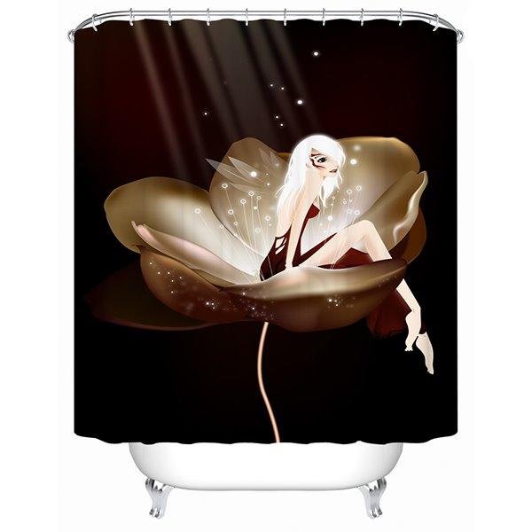 Cartoon Fairy Sitting on the Flower Print Bathroom Shower Curtain