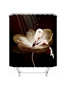 Cartoon Fairy Sitting on the Flower Print Bathroom Shower Curtain