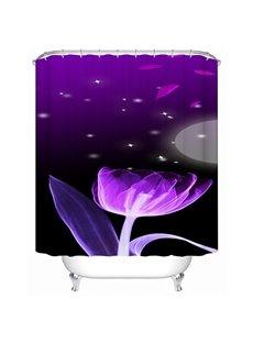Romantic Purple Lotus Print Bathroom Shower Curtain