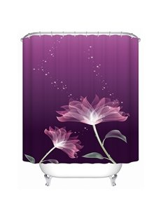 Freehand Lotus Print Bathroom Shower Curtain