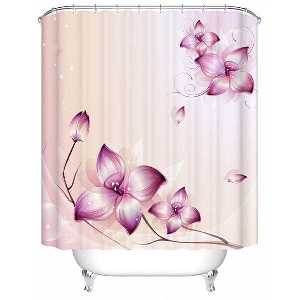 Concise Purple Flowers Print Bathroom Shower Curtain