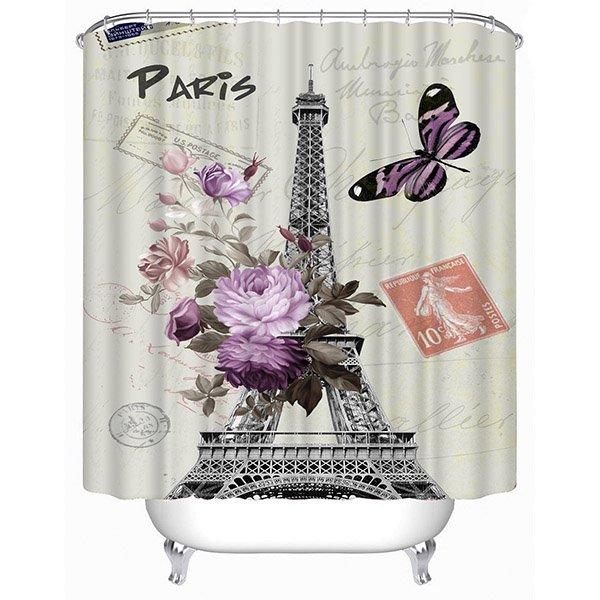 Romantic Paris Print 3D Bathroom Shower Curtain