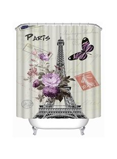Romantic Paris Print 3D Bathroom Shower Curtain