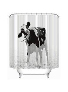 Black and White Dairy Cows Print 3D Bathroom Shower Curtain