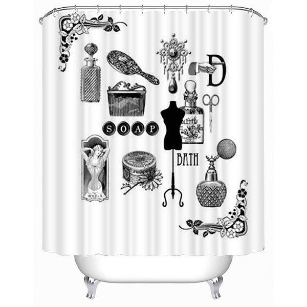 Black and White Bathroom Accessories of Women Print 3D Bathroom Shower Curtain