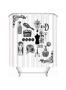 Black and White Bathroom Accessories of Women Print 3D Bathroom Shower Curtain