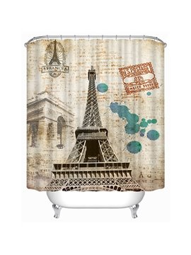 Bottom View of The Eiffel Tower Print 3D Bathroom Shower Curtain