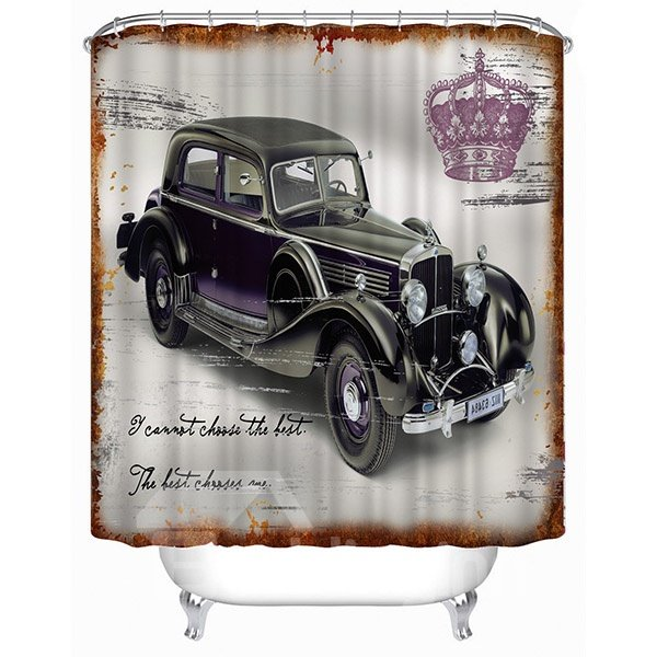 Retro Vintage Car Print 3D Bathroom Shower Curtain