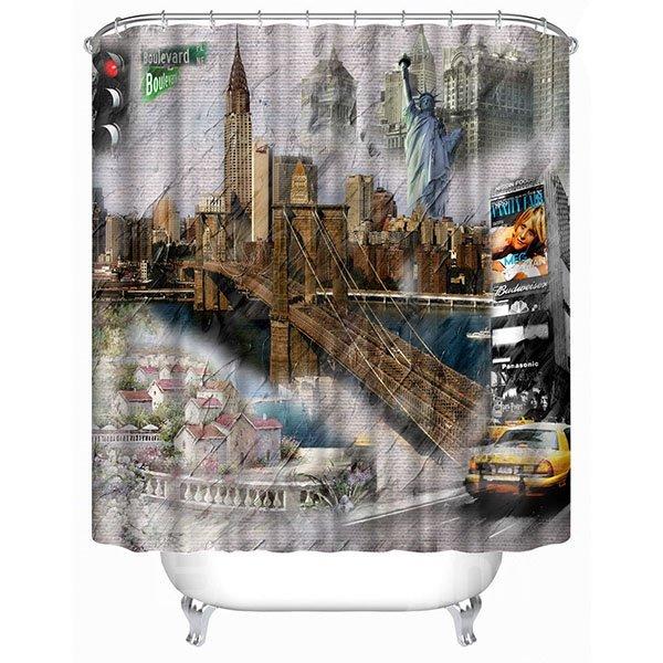 Classic Street Buildings Print 3D Bathroom Shower Curtain