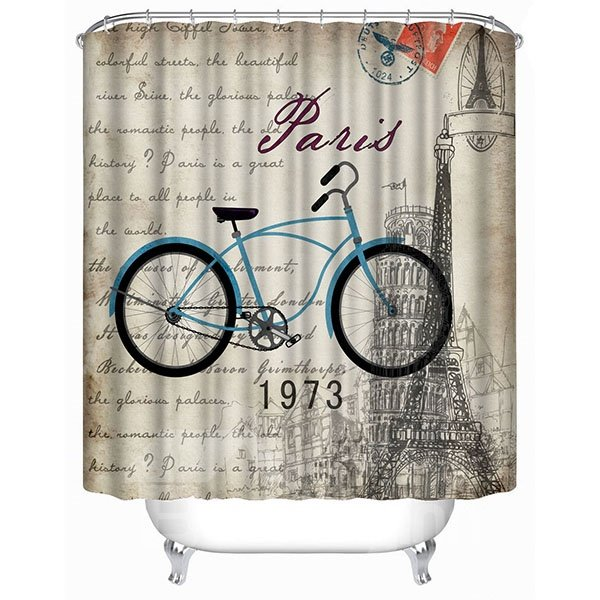 Blue Bicycle in Paris Print 3D Bathroom Shower Curtain