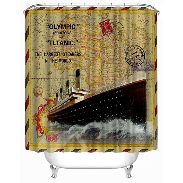 The Old Stamp Printing Ferry Pattern 3D Bathroom Shower Curtain
