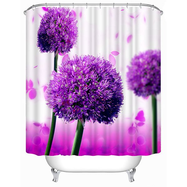 Gorgeous Purple Allium Giganteum Print 3D Bathroom Shower Curtain