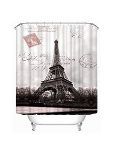 Eiffel Tower Black and White Photography Print 3D Bathroom Shower Curtain