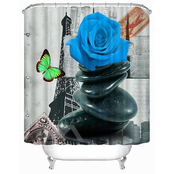 Impressionism Vintage Paris Blue Rose Print 3D Bathroom Shower Curtain
