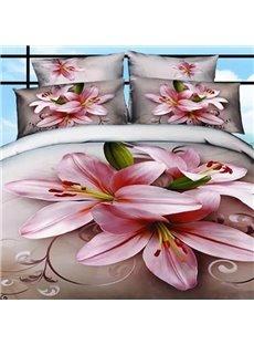 Graceful Pink Lilies Print Cotton 2-Piece Pillow Cases