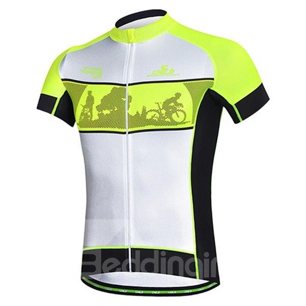 Male Fluorescence Yellow Bike Road Jersey Sponged Short Cycling Suit