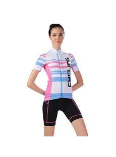 Female Pink and Blue Strip Breathable Jersey Short Bike Cloth Cycling Suit
